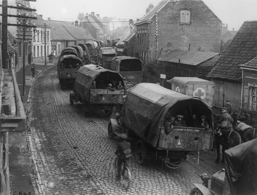 A Column of Army Service Corps (ASC) lorries on the Western Front during the First World War