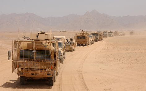 Royal Logistic Corps (RLC) vehicles on a Combat Logistic Patrol in Afghanistan on Operation HERRICK