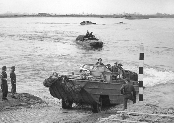 Royal Army Service Corps (RASC) DUKW crossing the Rhine in late March 1945