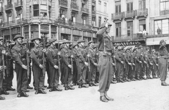 Pioneers on parade at a ceremony to mark the liberation of Ostend in September 1944